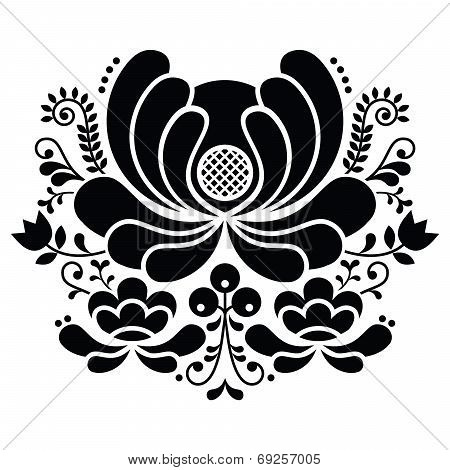 Norwegian folk art black and white pattern - Rosemaling style embroidery