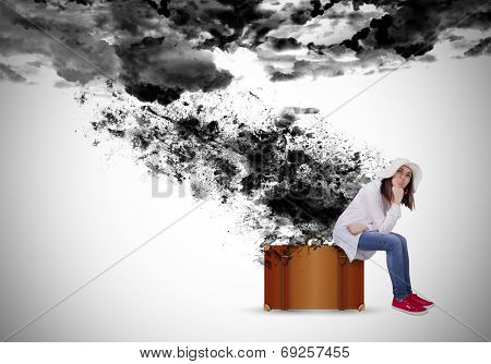 Sad Woman Under The Black Clouds