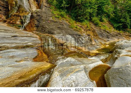 Small waterfall on a mountain river