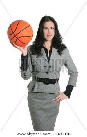 Basketball Ball Businesswoman Gray Suit
