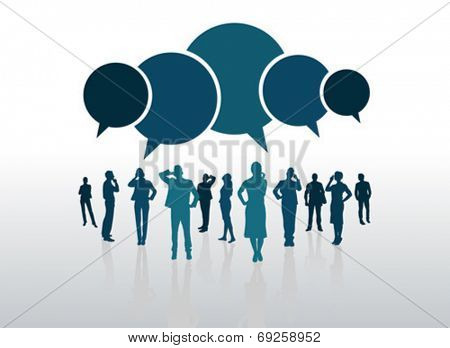 Business people with blue speech bubbles on grey background