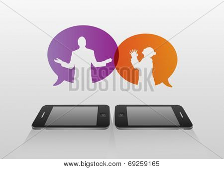 Digitally generated Business people arguing over phone concept