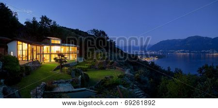 Night landscape with alight villa
