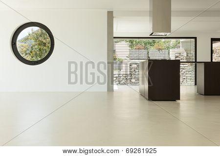 House, interior, modern architecture, kitchen view