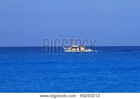 Blue sea and sky horizon background with boat