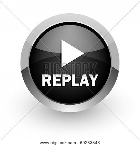 replay chrome glossy web icon