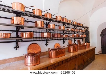 HOHENSCHWANGAU, GERMANY - 19 JUNE 2014: Kitchen interior of Neuschwanstein Castle in Hohenschwangau in Germany. Neuschwanstein castle is a nineteenth-century palace built for Ludwig II of Bavaria.