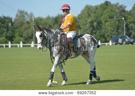 TSELEEVO, MOSCOW REGION, RUSSIA - JULY - July 26, 2014: Boris Osoyev of Tseleevo Polo club warms up before the match against the Oxbridge polo team during the British Polo Day. Oxbridge won 5-4