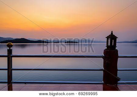 Landscape Of Sunset Over Lake