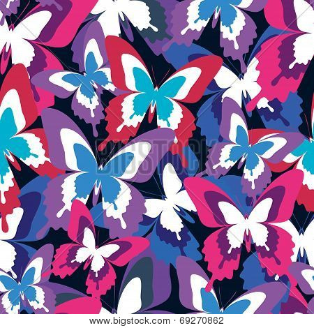 Beautiful Seamless Pattern With Colorful Butterflies