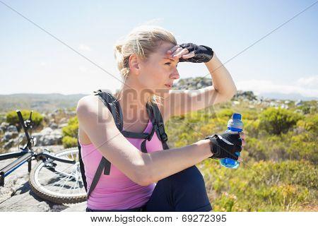 Fit pretty cyclist taking a break on rocky peak on a sunny day
