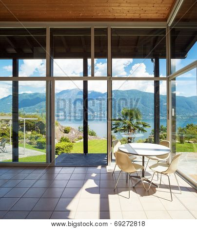 Architecture, interior with landscape view, veranda