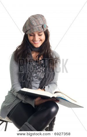 Happy Young Woman Read Book