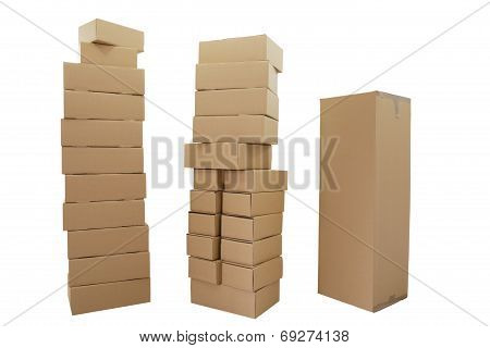 Three Stacks Of Cardboard