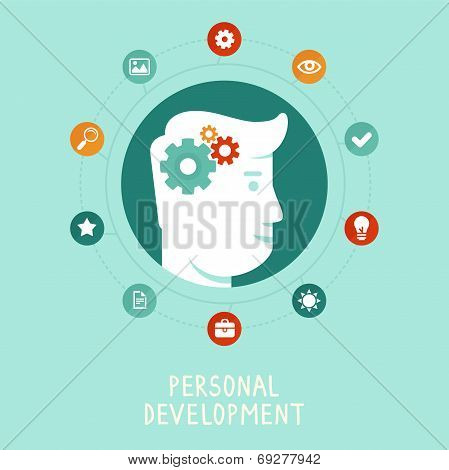 Vector Personal Development Concept In Flat Style