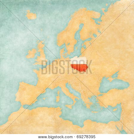 Map Of Europe - Poland (vintage Series)