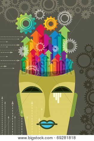 Abstract Technology Vector with Head