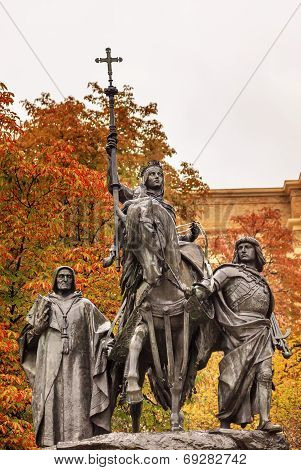 Queen Isabella Statue Marching Into Granada 1492 Madrid Spain
