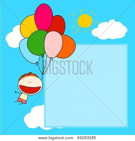 Cute card with a boy flying with a bunch of balloons