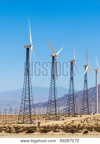 Wind powered alternate energy power generating farm in southern California