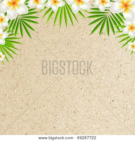 Sand Background With Frangipani, With Gradient Mesh, Vector Illustration