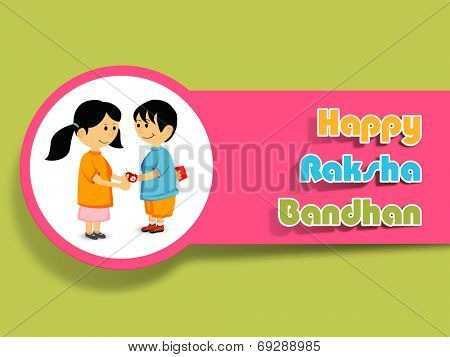 Hindu community festival Happy Raksha Bandhan celebrations with cute little sister tying rakhi on his brother wrist on green background.