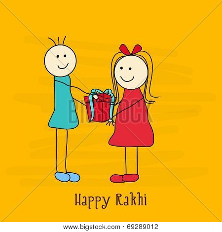 Cute doodle of a brother giving gift to his sister on occasion of Raksha Bandhan festival.