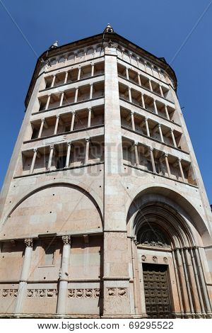 PARMA, ITALY - MAY 01, 2014: Baptistery on Piazza del Duomo in Parma from Benedetto Antelami. Baptistery in Parma is considered to be among the most important Medieval monuments in Europe.