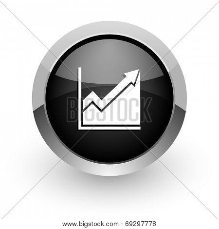 histogram black chrome glossy web icon