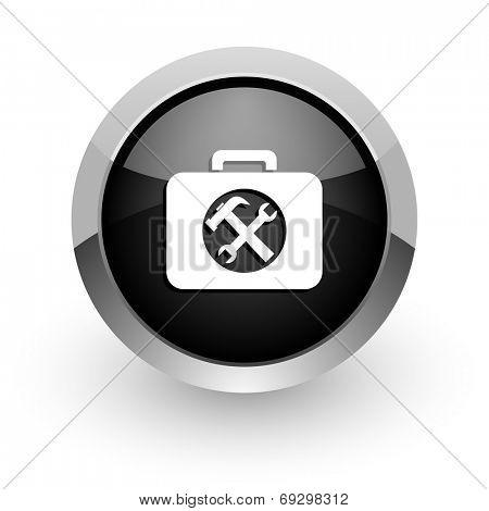 toolkit black chrome glossy web icon