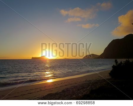 Early Morning Sunrise On Waimanalo Beach Over Rabbit Island