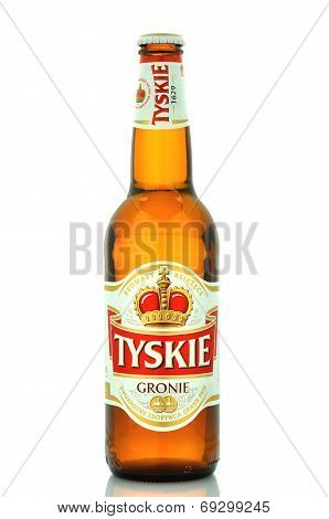 Tyskie pale lager beer isolated on white background