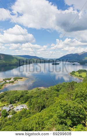 Derwent Water Lake District National Park Cumbria near Keswick surrounded by mountains elevated view