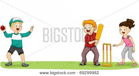 Illustration of a Group of Kids Playing Cricket in the Park