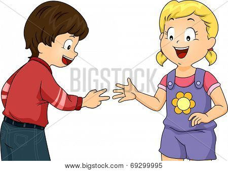 Illustration Featuring Little Kids Playing Rock, Paper, Scissors