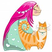 pic of nightie  - Small girl cartoon character with red cat - JPG