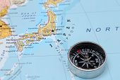 Travel Destination Japan, Map With Compass poster
