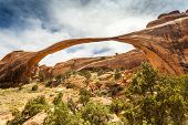 stock photo of turret arch  - The biggest Landscape Arch in Arches National Park Utah USA - JPG