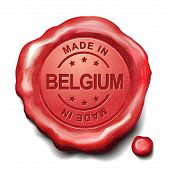 picture of credential  - made in Belgium red wax seal over white background - JPG