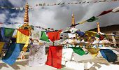 picture of himachal pradesh  - Prayer flags with stupas  - JPG