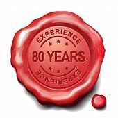 pic of credential  - 80 years experience red wax seal over white background - JPG