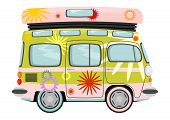 stock photo of camper-van  - Funny cartoon retro van or small bus - JPG