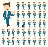 pic of cartoon character  - Set of businessman characters poses eps10 vector format - JPG