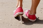 image of nasty  - Foot stuck into chewing gum on street - JPG