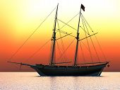 stock photo of pirate ship  - Broadside silhouette of American Schooner sailing ship with sails down - JPG