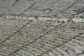 picture of epidavros  - Close up of stone seats in Greek ancient theatre of Epidauros - JPG