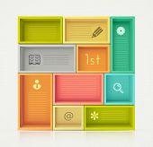 image of book-shelf  - Colorful shelves for design - JPG