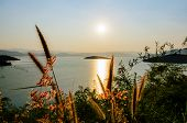 picture of chan  - High angle view of the lake on the Kaeng Kra Chan Dam view point at sunset in National Park Phetchaburi Province Thailand - JPG