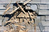 stock photo of shingles  - Roof construction site - JPG