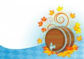 foto of keg  - Decorative Oktoberfest design with beer wood keg - JPG